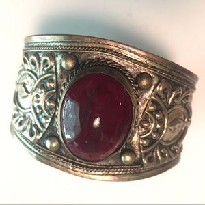 Jewelry - Vintage Cuff Bracelet with Red Oval Stone
